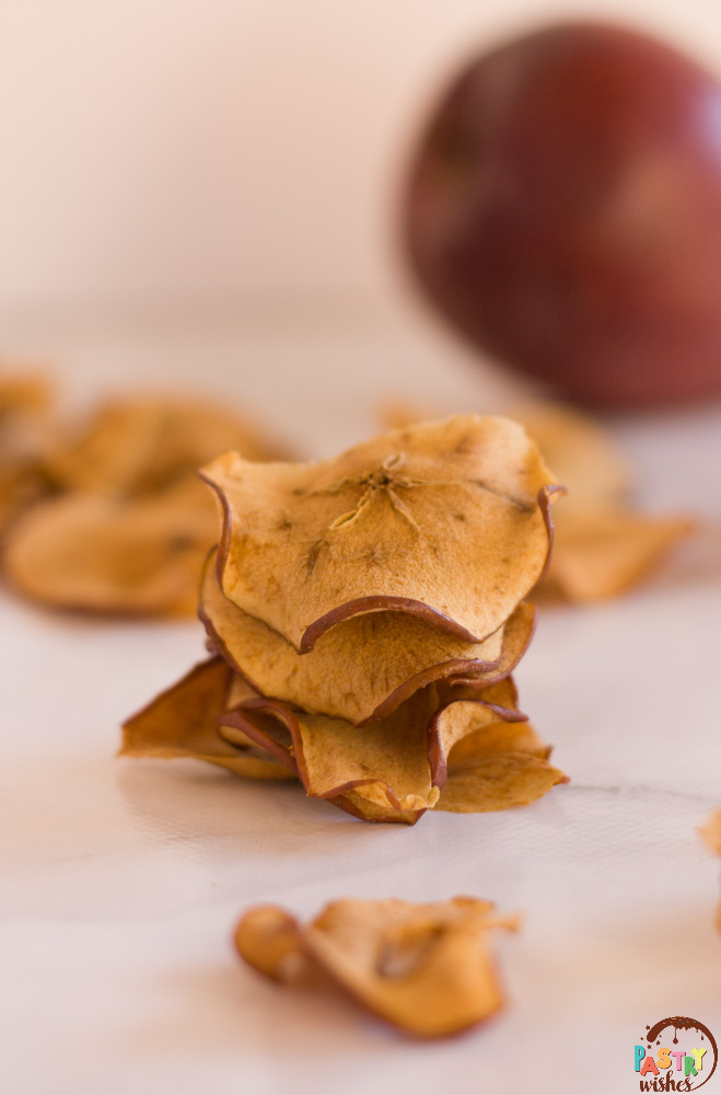 a stack of apple chips