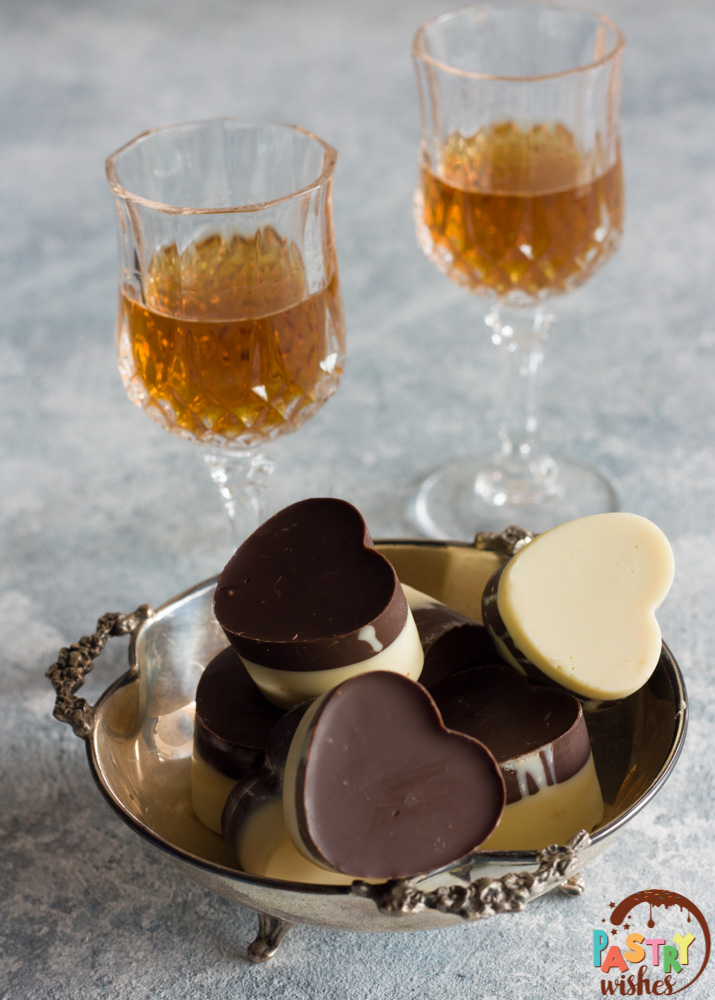 Two-toned chocolate hearts