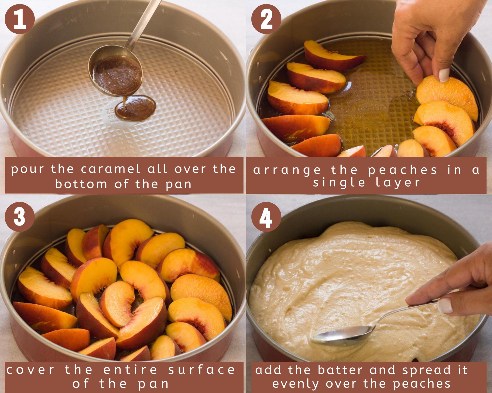 upside-down peach cake steps