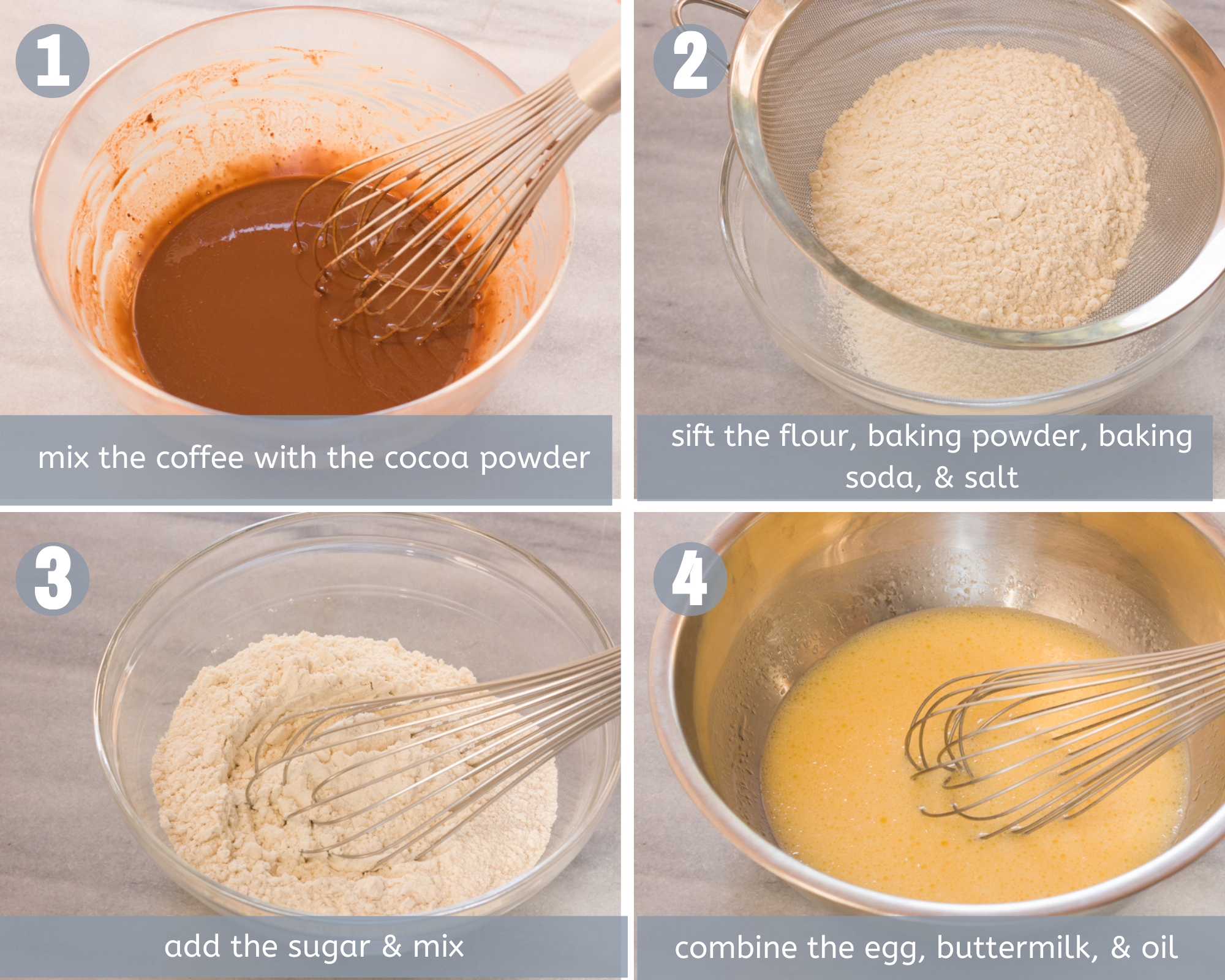steps 1 to 4 for chocolate cupcakes