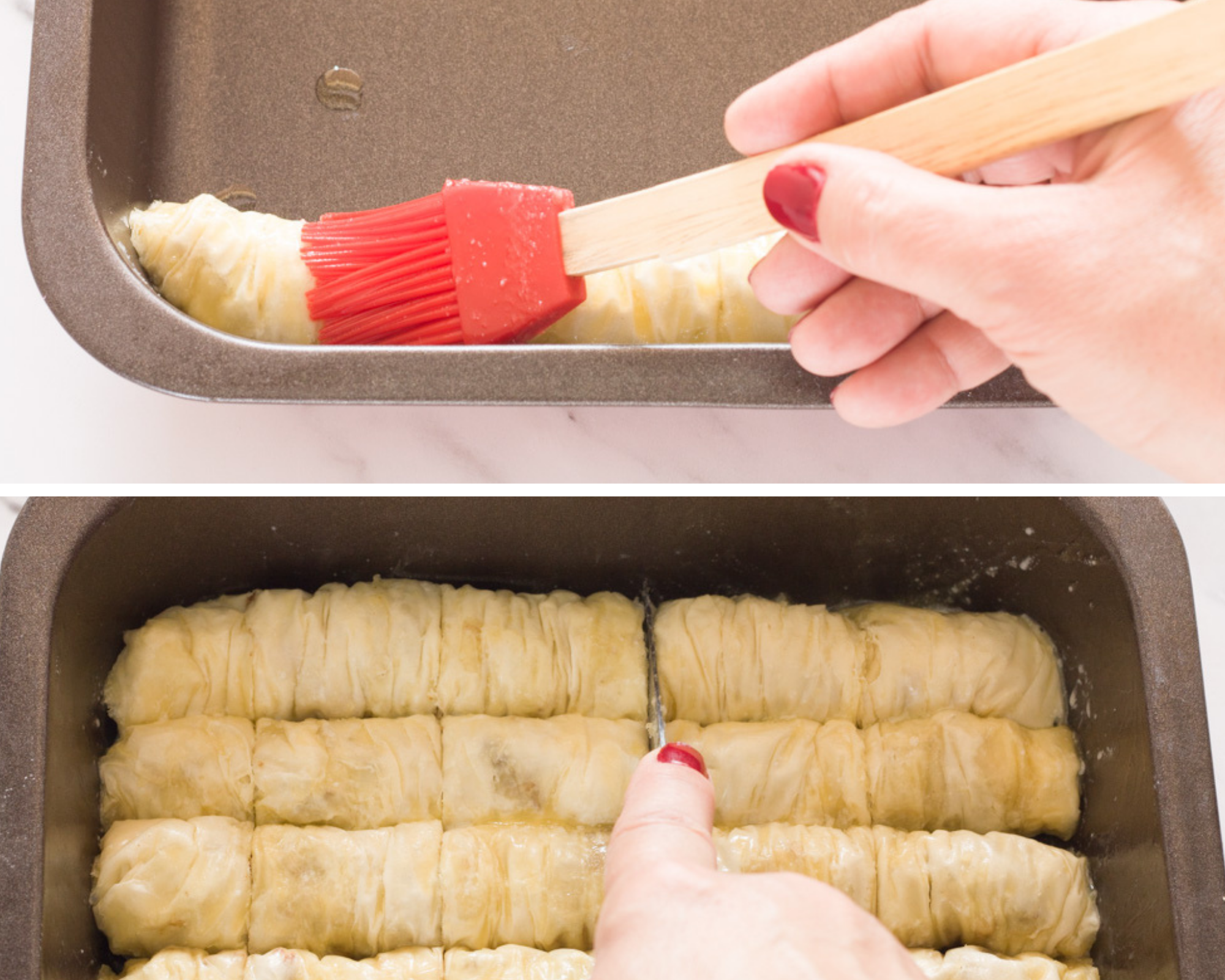 buttering a saragli baklava roll in a pan and then cutting them into small rolls