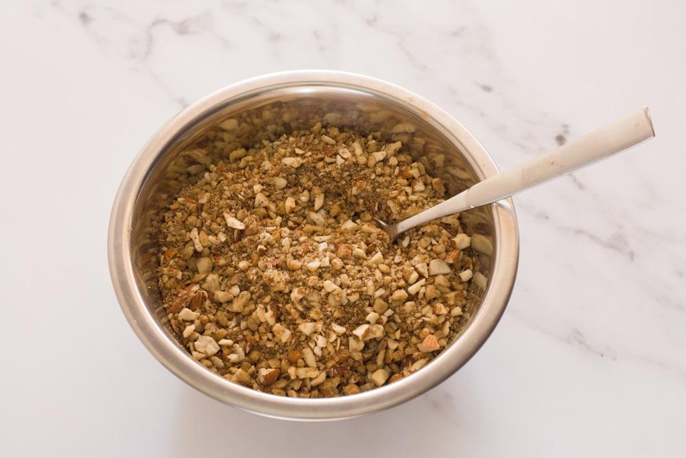 saragli baklava nut mixture in a bowl on a white countertop