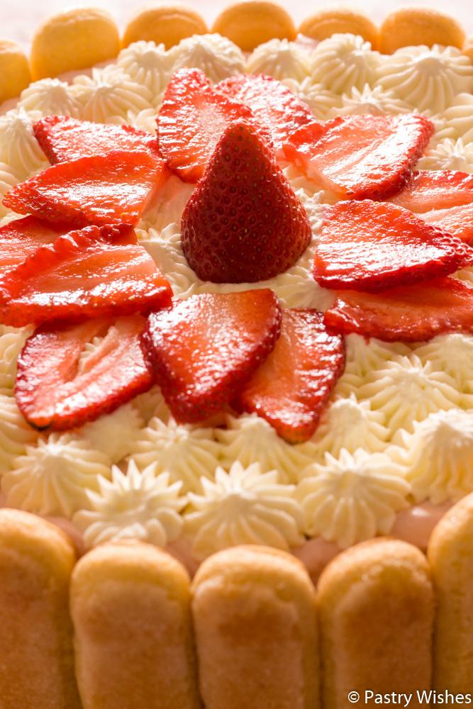 Strawberry Charlotte cake with fresh strawberries