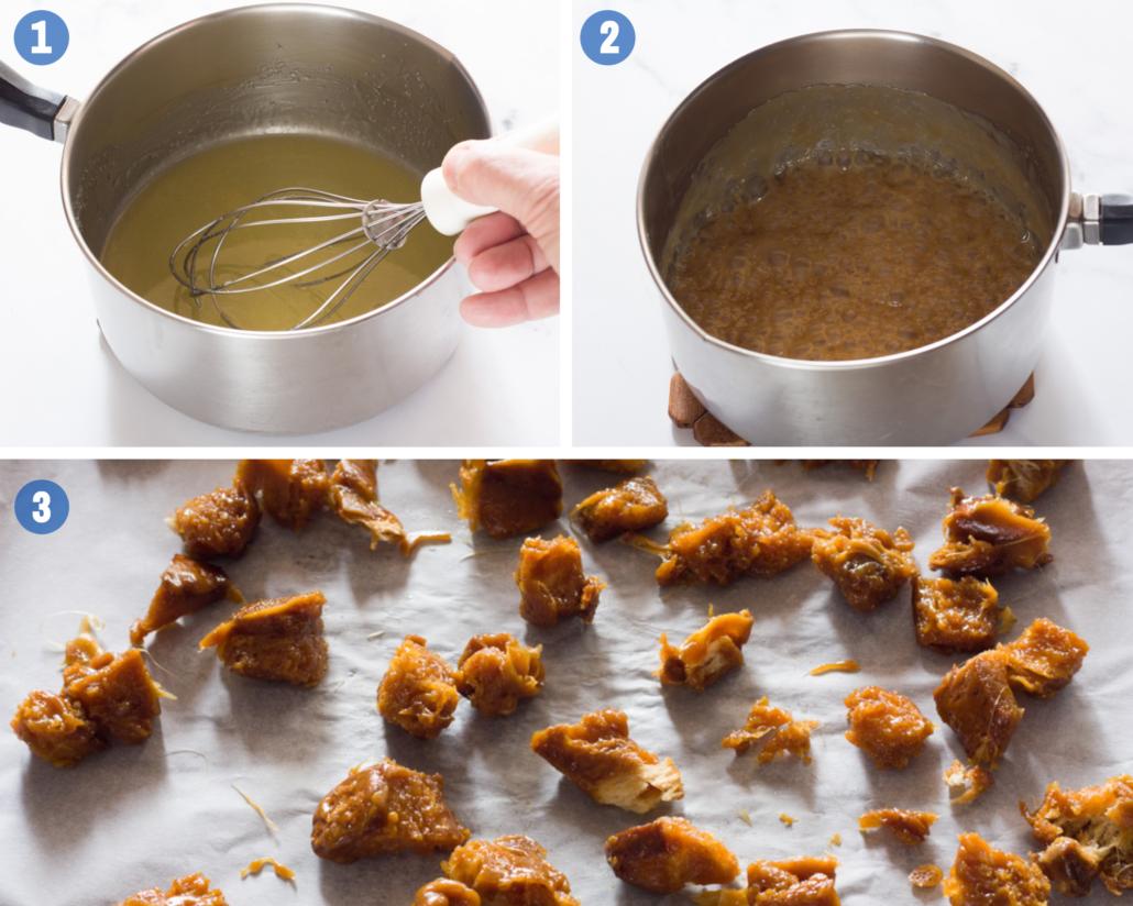 caramel brioche croutons 2 steps