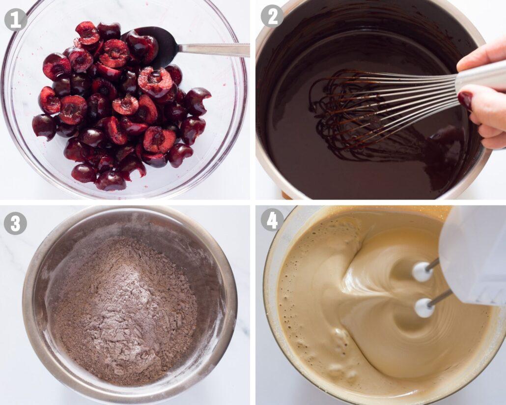 chocolate cherry brownies steps 1-4