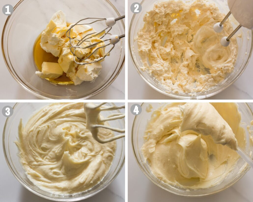 maple cream cheese frosting steps 1 to 4